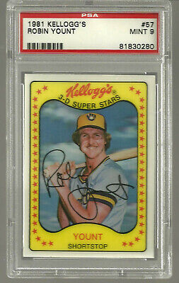 1981 Kelloggs #57 Robin Yount PSA 9 MINT Milwaukee Brewers HOF RARE