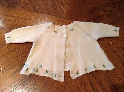 Vintage Baby Clothes Girl's Embroidered Wool Matinee Jacket Cardigan