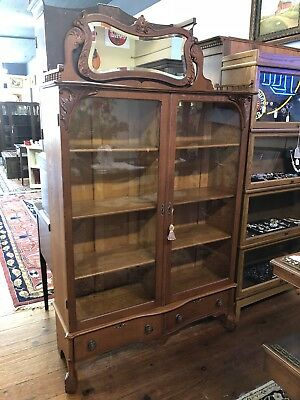 Antique Oak Double Door Bookcase Curio Original Wavy Glass Doors Tiger Oak