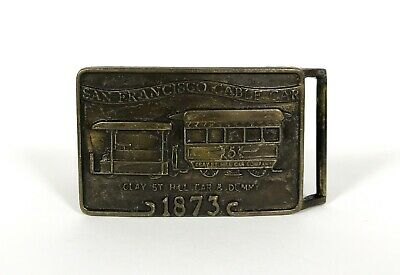VINTAGE SAN FRANCISCO CABLE CAR SOUVENIR BELT BUCKLE 1873 Clay ST Hill car Dummy