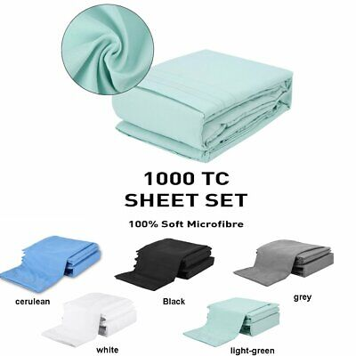1000TC Ultra Soft -4pcs Flat & Fitted Sheet Set All Size with Pillowcases NEW~