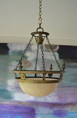 Early 20th C Alabaster Plafonnier Brass Hall Lantern Side Table Ceiling Light