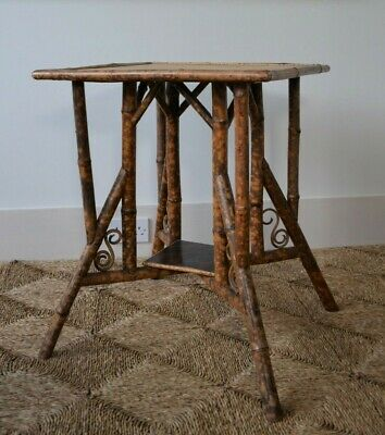 Late 19th Century Matthews & Clark Bamboo Oriental Lamp Bed Side Hall Table
