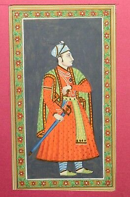 Fine Hand Painted Collectible Rare Mughal Emperor Miniature Painting. i55-18 US