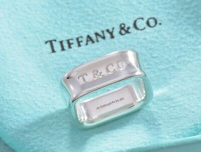 Tiffany & Co 1837 Sterling Silver Square Wide Band Ring Size 6 w/ Pouch RARE
