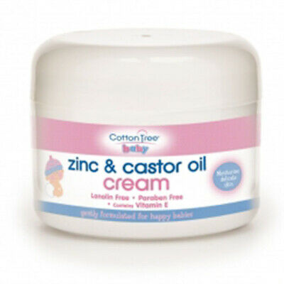 Cotton Tree Nappy Rash Cream Zinc & Castor Oil Cream Lanolin Free 200ml