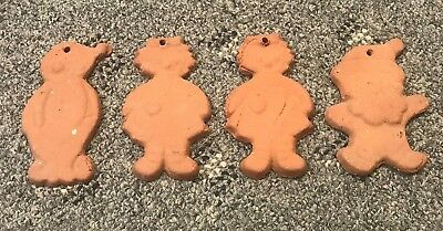 4 Molded Sewer Clay Tile, Mid 19Th C, Central Ohio, Ornament Vtg Unglazed