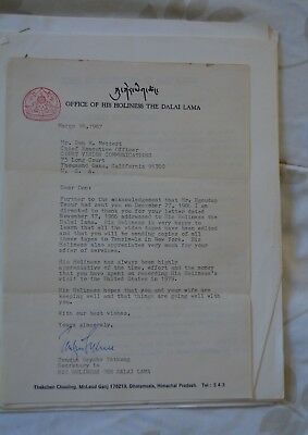 Dalai Lama Project a TIBETAN TIBET Signed Correspondence 8 Pieces signed