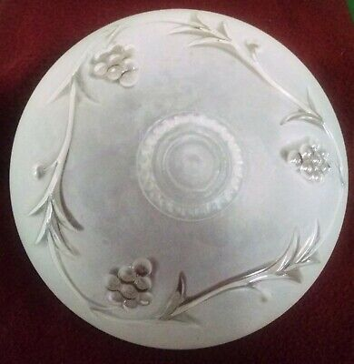"Vintage Art Deco Frosted Floral Glass Lamp Shade Ceiling Fixture ~ 5.5"" Fitter"