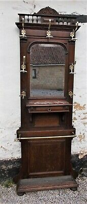 Hall stand Antique French 19th Century oak, Umbrella Stick Stand brass fittings
