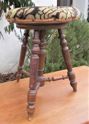 piano stool, antique french, solid turned wood, adjustable,original upholstery