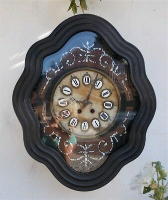 Wall clock, antique, French 19th Century Napoleon III Mother-of-Pearl Inlay