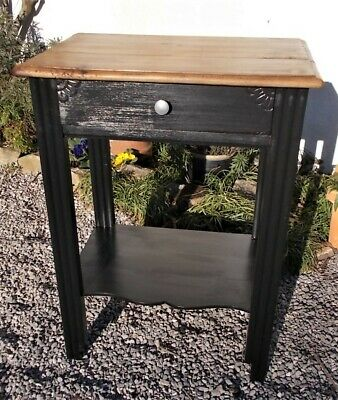 vintage side table,black painted,art deco shabby,french occasional table,bedside