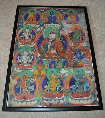 1800's Wonderful  Rare Old Tibet Tibetan Buddhism Thangka Tangka GURU RINPOCHE