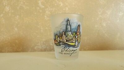 """Shot Glass Frosted Chicago The Windy City  2 1/4""""  Souvenir Collectible CL24-11"""