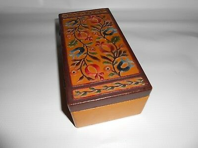 Antique 19th Hand Painted Polychrome Wooden Box-Primitive Folk Art RELIEF CARVED