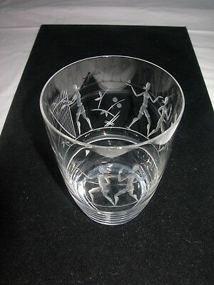 Antique/Vintage Blown Glass Tumbler ETCHED SCENE-People-Harp-Dog
