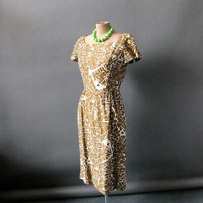 Vintage 1960s Summer Dress Marty G Tan White Print sz S 2 4 Wear to Wedding