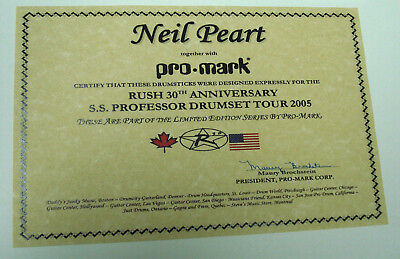 Neil Peart R30 S.S.Professor Drumset Tour Promark drumsticks Certificate Only