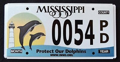 """MISSISSIPPI """" LIGHTHOUSE -  WILDLIFE DOLPHINS  FISH """" MS Specialty License Plate"""