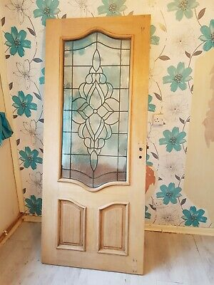 Vintage stripped external internal Solid Wood  Stained glass Door. 78inches