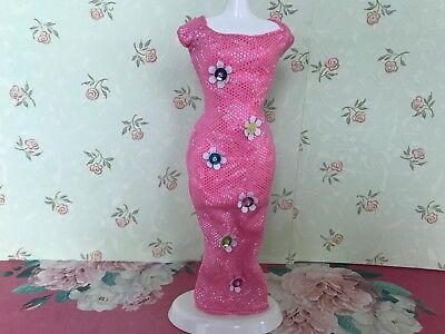 Barbie Doll Fashions Clothes Pink Sparkle Flower Embellished Maxi Dress