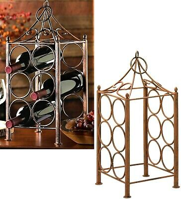 RUSTIC ANTIQUED CIRCLE PAVILLION CORRAL WINE HOLDER ** Holds 6 Bottles ** NIB