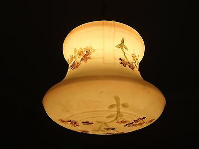 Antique   VICTORIAN   MILK GLASS SHADE HAND PAINTED W FLORAL DESIGN 1900's