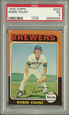 1975 Topps #223 Robin Yount ROOKIE RC HOF Milwaukee Brewers PSA 5 EX