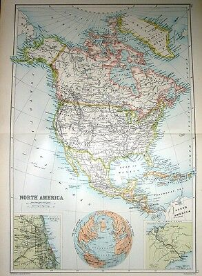 1891 Large Map ~ North America ~ Insets Environs Chicago Panama Canal