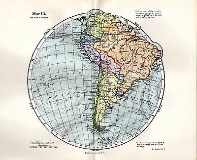 1889 Victorian Circular Map ~ South America Brazil S.w. Atlantic S.e. Pacific