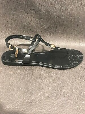 098c2a746 Coach Pier Thong Sandals Ankle T Strap Flats Black Jelly Turn Lock Size 7