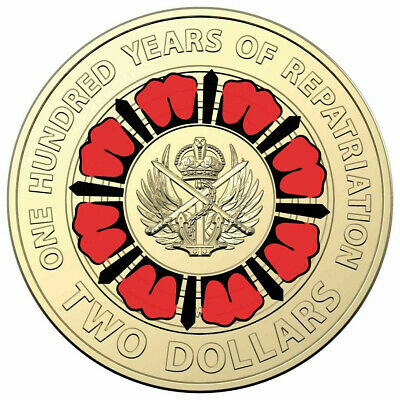 2019 $2 100 Years of Repatriation Coloured coin FREE POST