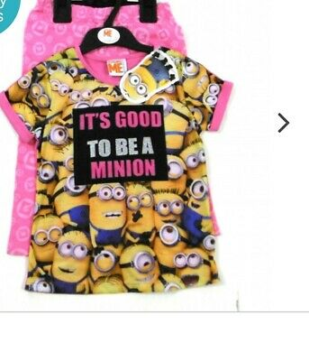 Minions Despicable Me Girls Striped Pyjamas 3-4, 4-5, 6-7, 8-9yrs