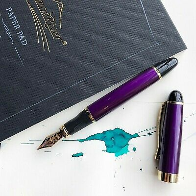 JINHAO X450 Royal Purple 18k Gold Plated Trim Fountain Pen Fine Nib