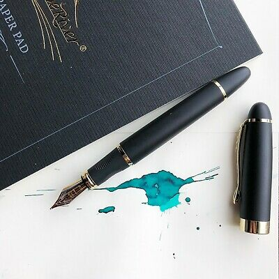 JINHAO X450 Matte Black 18k Gold Plated Trim Fountain Pen Fine Nib