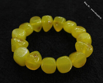 Collect Chinese Chicken oil yellow Beeswax Carved Buddha Bead bracelet bangle L