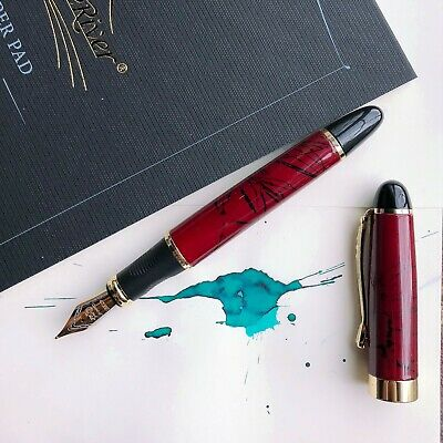 JINHAO X450 Dark Red Marble 18k Gold Plated Trim Fountain Pen Fine Nib