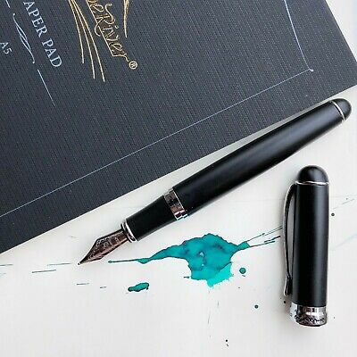 JINHAO X750 Matte Black 18k Gold Plated Trim Fountain Pen Fine Nib