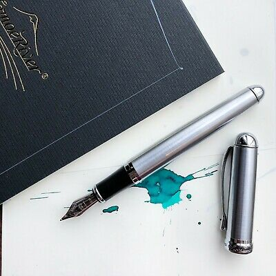 JINHAO X750 Brushed Silver Silver Plated Trim Fountain Pen Fine Nib
