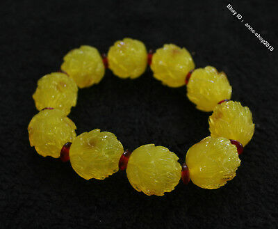 Collect Chinese Chicken oil yellow Beeswax Carved Buddha Bead bracelet bangle G