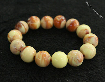 Collect Chinese Chicken oil yellow Beeswax Carved Buddha Bead bracelet bangle QI