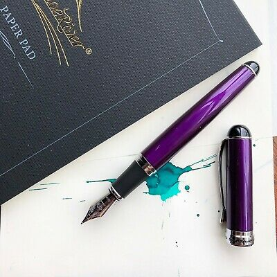 JINHAO X750 Royal Purple 18k Gold Plated Trim Fountain Pen Fine Nib