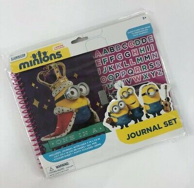 Minions Despicable Me Journal Set Come With Lock 96 Pages Gel Pen Stickers Gems