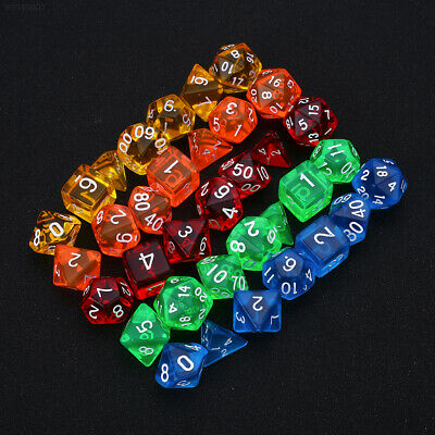 5591 7Pcs Gem Transparent Dice RPG Playing Games Party For Families Friends Kids