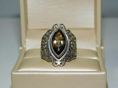 Wide Filigree 925 Sterling Silver Smoky Quartz Marquise size 7.5 Ring 5g 20