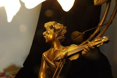 Antique Art Nouveau Figural Nymph Playing Violin Lamp Cold Bronzed Spelter WOW++