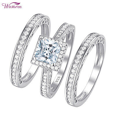 3pcs Engagement Wedding Ring Set 925 Sterling Silver 2.8ct Princess AAA Cz 5-12