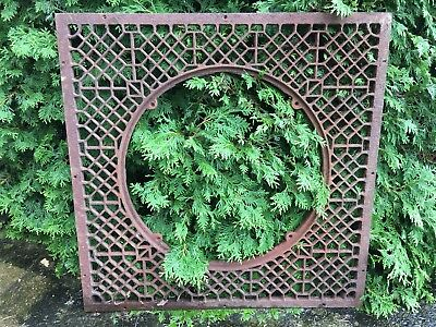 HUGE Metal CAST IRON Garden Grate Antique Window Basement Louvered Floor Heat #9