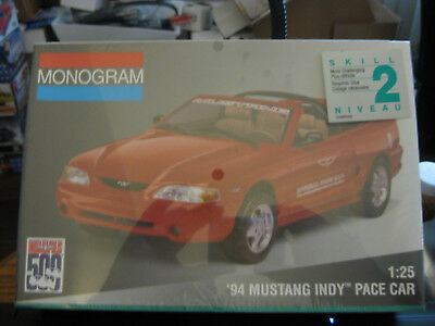 Monogram 1994 Ford Mustang Indy Pace Car skill level 2 factory sealed 1/25 scale